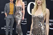 Blada Sophie Turner w srebrnej kreacji góruje nad mężem na premierze filmu