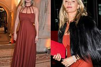Elegancka Kate Moss eksponuje ramiona w ceglastej sukni na Portrait Gallery Gala