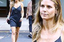 Nieumalowana Heidi Klum w krótkiej halce za 8 tysięcy