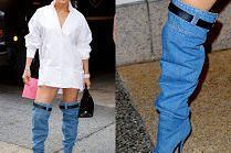 Jennifer Lopez przechadza się w kozako-dżinsach (?) od Versace