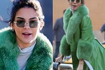 Kendall Jenner świętuje 23. urodziny w wielkim, zielonym płaszczu