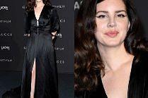 Mroczna Lana del Rey gra nogą w czarnej kreacji Gucci