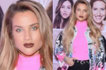Nieruchoma twarz Karoliny Gilon promuje makijażowe przeboje na targach kosmetycznych