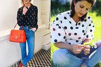 Z czym nosić bluzkę w grochy? 5 stylizacji gwiazd