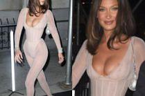 "Powyginana Bella Hadid w ""nagim kostiumie"" na imprezie ""Harper's Bazaar"""