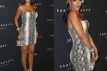"""Odchudzona Rihanna promuje swoje kosmetyki w """"wężowej"""" sukience Versace"""