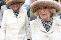 Księżna Camilla i jej wielka futrzana czapa spieszą podziwiać wyścigi konne