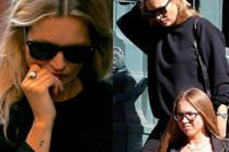 Spłoszona Kate Moss z córką na zakupach u Prady