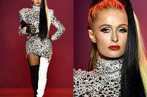 Paris Hilton jako córka Cruelli De Mon (?) na wybiegu w Nowym Jorku