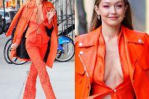 Zahartowana Gigi Hadid w pomarańczowym zestawie wietrzy wdzięki na mrozie