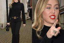 Elegancka Miley Cyrus wychodzi z hotelu w czerni od stóp do głów