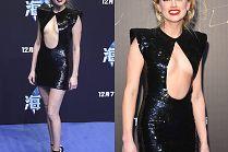 """Uradowana Amber Heard eksponuje klatkę piersiową na premierze """"Aquamana"""""""
