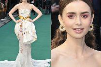 """Promienna Lily Collins błyszczy na premierze """"Tolkiena"""" w sukni Giambattista Valli"""