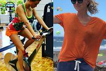 Kolorowe spodenki do biegania w sportowych stylizacjach celebrytek