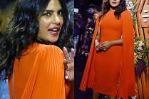 Cała na pomarańczowo Priyanka Chopra reklamuje aplikację randkową w Bombaju