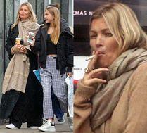 Opatulona Kate Moss idzie z córką do kina