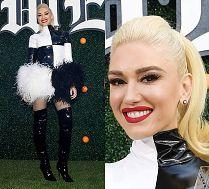 Uśmiechnięta Gwen Stefani w lateksowej stylizacji