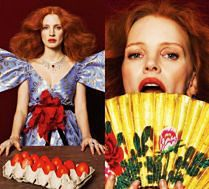 Jessica Chastain pozuje z czerwonymi jajkami...