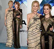 Amber Heard z zaklejonym kroczem tuli Nicole Kidman na premierze