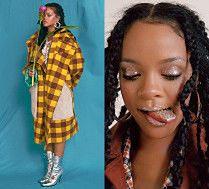 Rihanna wystawia język zanurzony w brokacie...