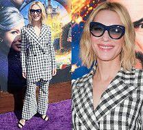 Cate Blanchett w kraciastym garniturze prosto z wybiegu