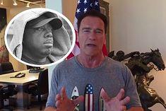 Arnold Schwarzenegger na głównym zdjęciu, w kółku zmarły George Peterson