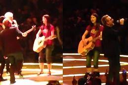 Bono zachwycony młodą fanką. Zagrał z nią na scenie!