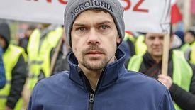Michał Kołodziejczak podczas protestu Agrounii w Warszawie.