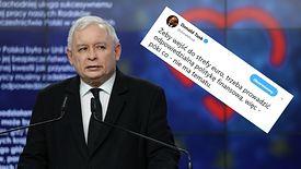 Jarosław Kaczyński apelujący o deklarację ws. euro i odpowiedź Donalda Tuska