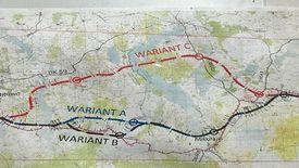 Mapa z przebiegiem 3 wariantów drogi S16.