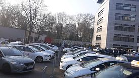 Kierowcy Mytaxi protestują. Zdjęcie ze strony NSZZ Solidarność Region Mazowsze Taksówkarzy Zawodowych M. St. Warszawa.
