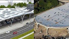 W przypadku miejskiej inwestycji z Katowic, budowany dach mocno różni się od tego z wizualizacji