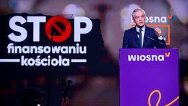 Robert Biedroń podczas konwencji Wiosny w Warszawie