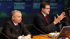 Marzec 2007. Premier Jarosław Kaczyński i wiceminister skarbu Michał Krupiński, obecny prezes Pekao.
