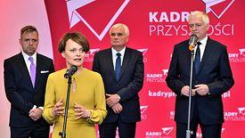 """Wrocław, 25.04.2019. Jadwiga Emilewicz i Jarosław Gowin na konferencji prasowej """"Kadry Przyszłości dla polskiej nauki""""."""