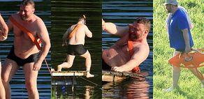 Spragniony wrażeń Łukasz Szumowski pluska się w jeziorze podczas rodzinnego wypadu (ZDJĘCIA)