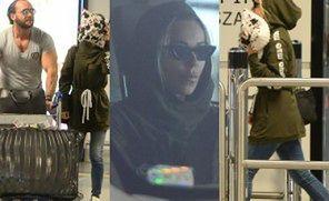 Mąż-nositorba nosi walizki Dody na lotnisku w Warszawie (ZDJĘCIA)