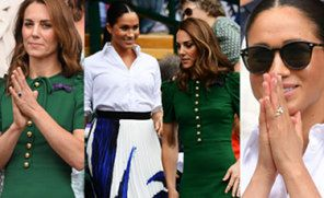 Skupione Meghan Markle i Kate Middleton pozdrawiają z trybun Wimbledonu (ZDJĘCIA)