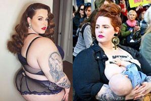 """Słynna """"modelka XXL"""" karmi syna piersią na Marszu Kobiet (FOTO)"""