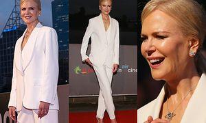 """""""Woskowa"""" Nicole Kidman promuje nowy film w białym garniturze Ermanno Scervino"""