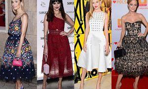 Rozkloszowane sukienki midi w stylizacjach gwiazd