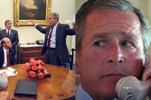 Nowe zdjęcia z dnia ataku na WTC. George Bush dowiaduje się o tragedii (GALERIA)
