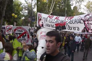 Tysiące protestujących przeciwko umowom TTIP i CETA w Madrycie