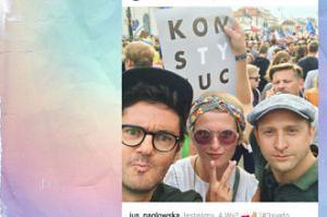 Szyc, jego dziewczyna i Wojewódzki protestują pod Pałacem Prezydenckim