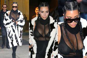 Piersi Kim Kardashian wracają... w futrze (ZDJĘCIA)