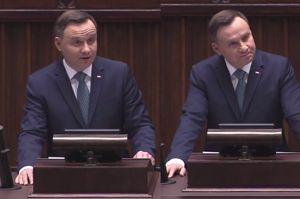 """Duda grzmi w Sejmie: """"Koniec wyniszczającego starcia wrogich plemion. Spory nie budują naszej pozycji!"""""""