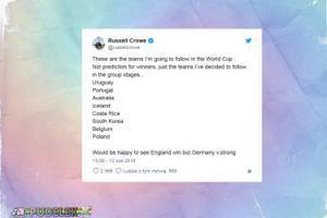 Russell Crowe będzie kibicował Polsce na MŚ w Rosji!