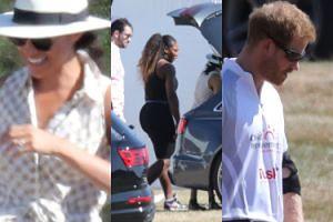 Roześmiana księżna Meghan i Serena Williams z mężem kibicują Harry'emu na meczu polo (ZDJĘCIA)