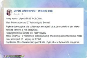 """Wróblewska o nowej Miss Polonia: """"Modelki w tym wieku kończą karierę, a nie zaczynają"""""""