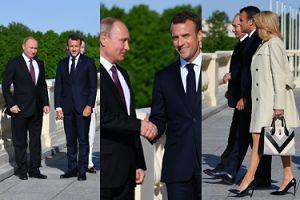 Macronowie zadają szyku na spotkaniu z Putinem w Petersburgu (ZDJĘCIA)